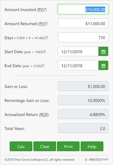 A return-on-investment (ROI) calculator