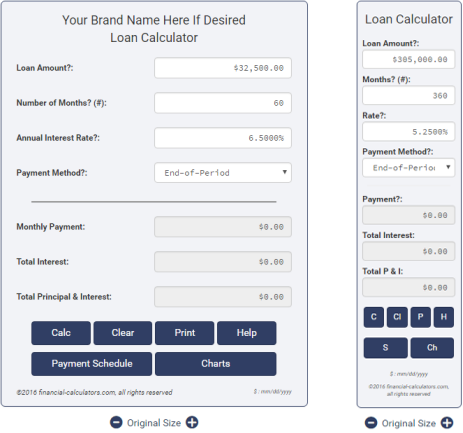 loan calculator plugin