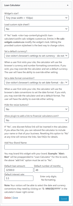 WordPress option page for loan calculator plugin