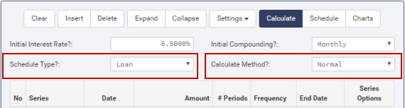 Calculator conventional loan settings