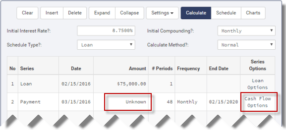 Skipped payment loan setup