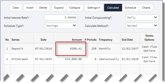Calculated monthly investment amount