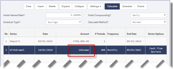 Annuity cash flow calculator setup