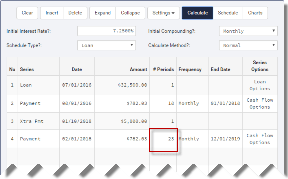 extra principal payment calculation financial calculator