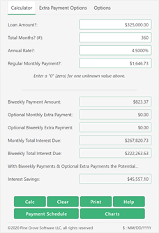 A biweekly payment calculator