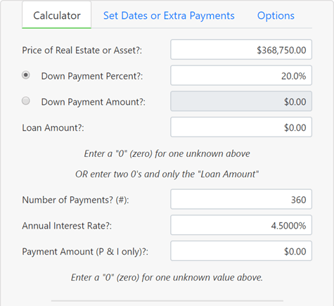setup to calculate a loan amount