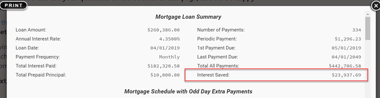 mortgage summary with extra payment