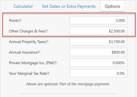 Points, fees and other charges